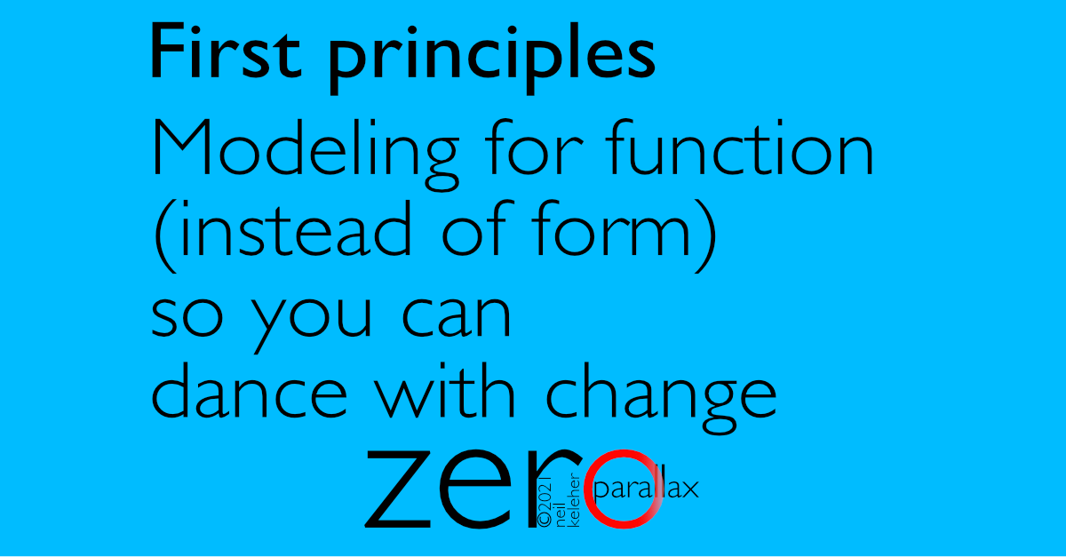 first principles: modeling for function so that you can dance with change.
